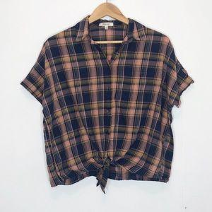 Madewell plaid tie button down shirt